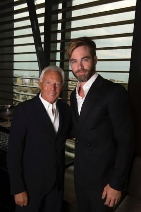 Designer Giorgio Armani and actor Chris Pine