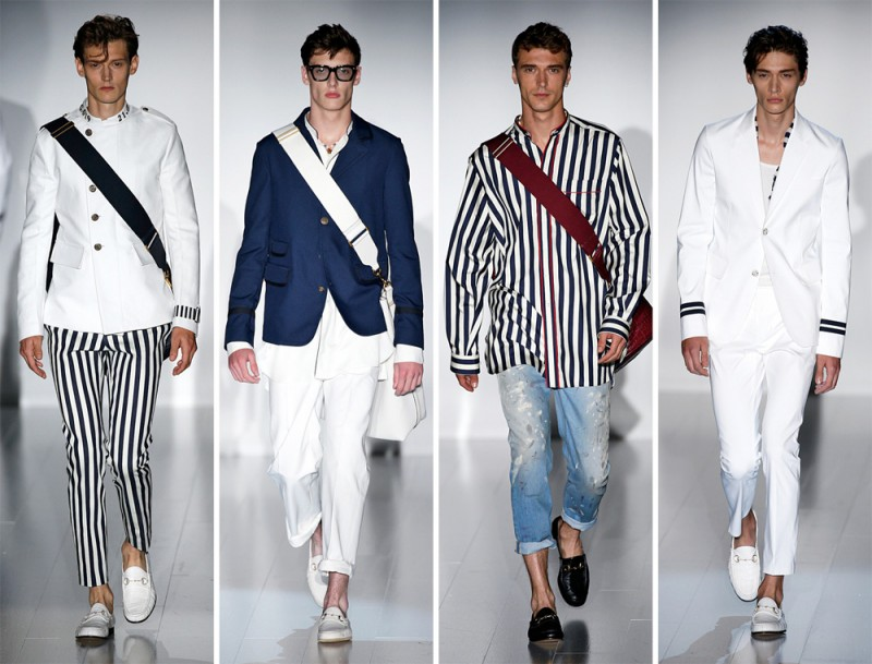 Gucci Spring/Summer 2015: Ready for a summer getaway, Gucci went nautical with navy and white painting a stripe decorated season with charm.