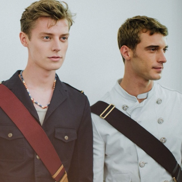 Models Janis Ancens and Clement Chabernaud behind the scenes at Gucci's show.