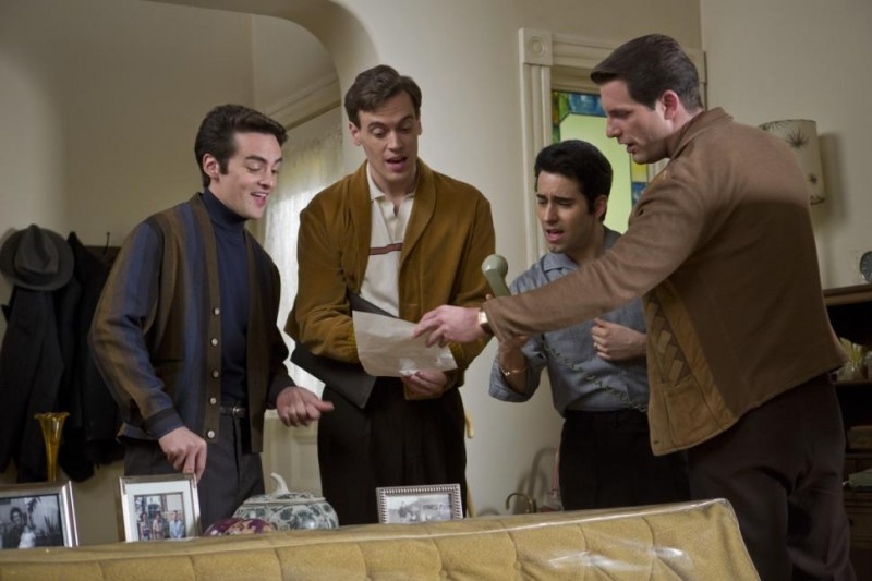 Bergen and his' Jersey Boys' costars. Left to Right: Vincent Piazza as Tommy DeVito, Erich Bergen as Bob Gaudio, John Lloyd Young as Frankie Valli and Michael Lomenda as Nick Massi.