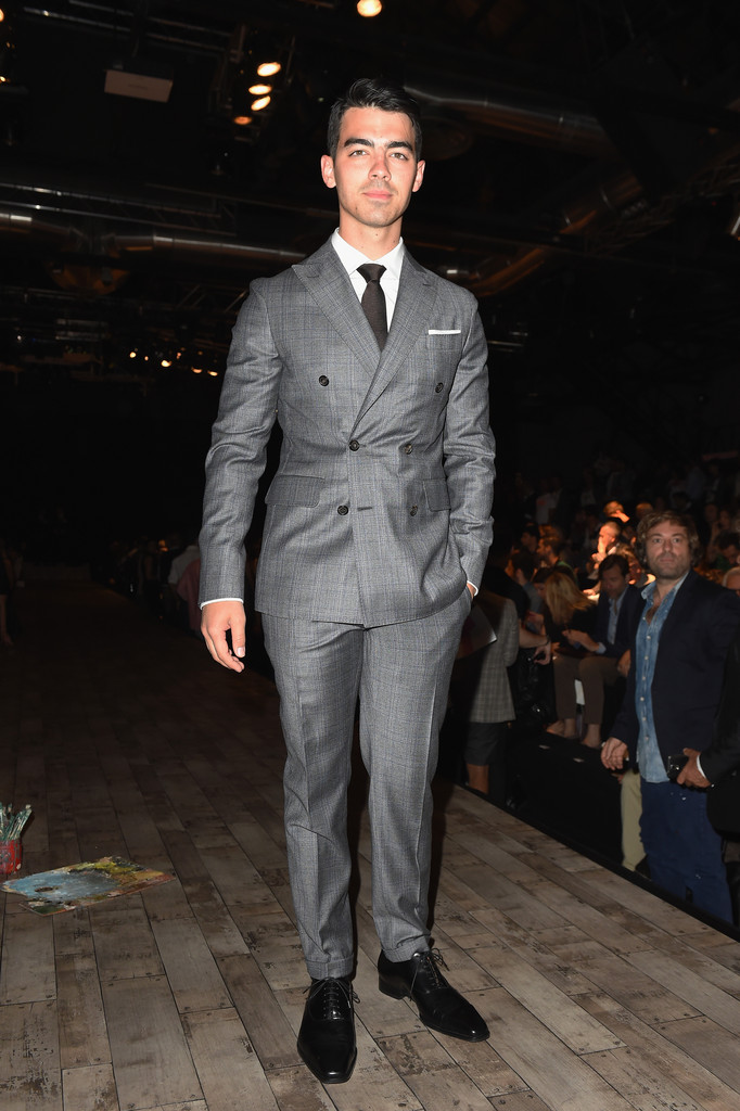 Going for a dapper look in Milan, Joe Jonas attended Dsquared2's spring/summer 2015 show on the final day of Milan Fashion Week.