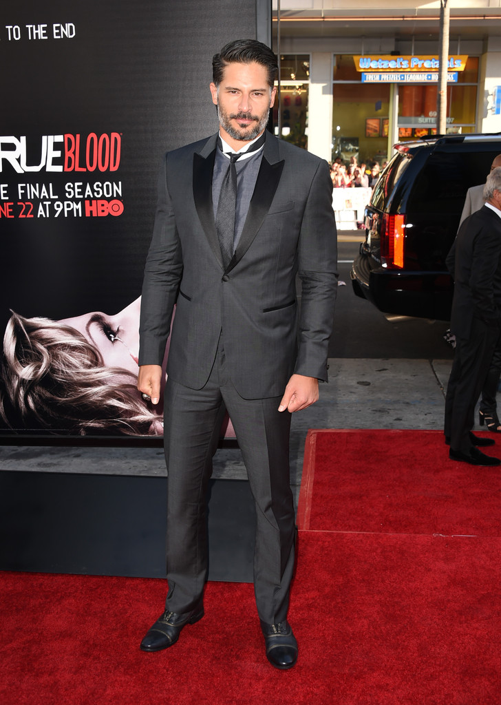 'True Blood' actor Joe Manganiello impresses in John Varvatos as usual, attending the 'True Blood' season premiere.
