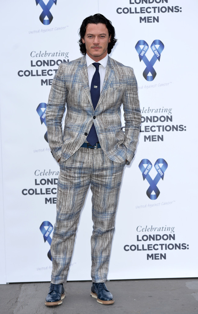 Attending the One For the Boys Charity Ball during London Collections: Men, actor Luke Evans made quite the statement in a printed suit from Fendi.