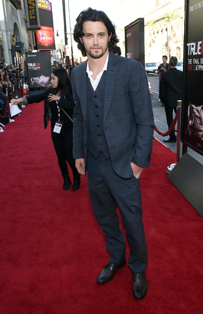 Actor Nathan Parsons takes a note from 'True Blood' costar Joe Manganiello and wears John Varvatos to the premiere celebration.