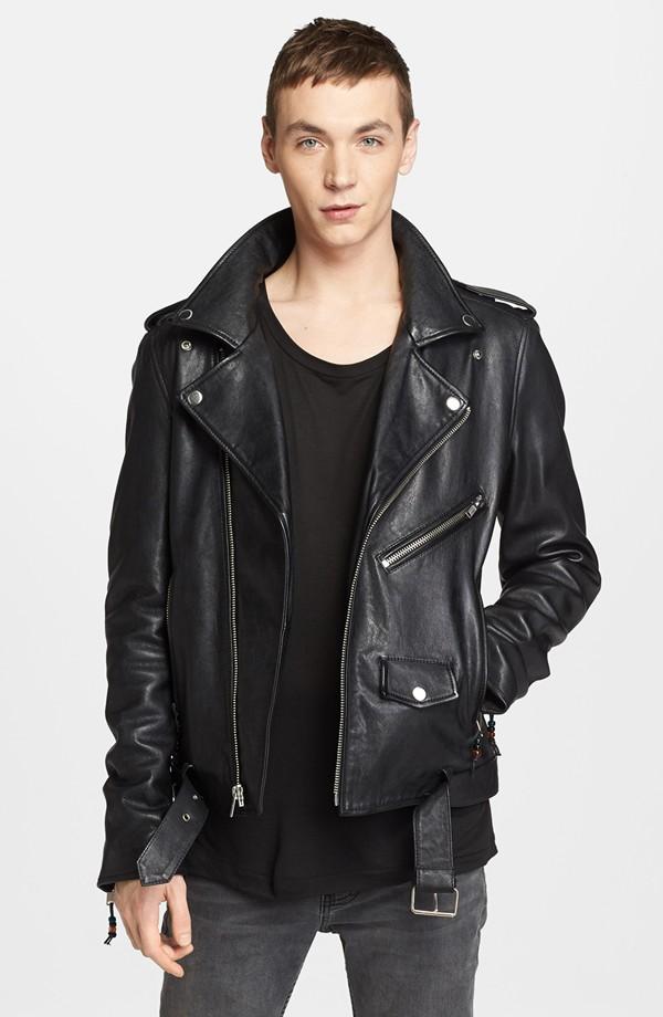Yuri Pleskun wears BLK DNM Leather Biker Jacket, from Nordstrom