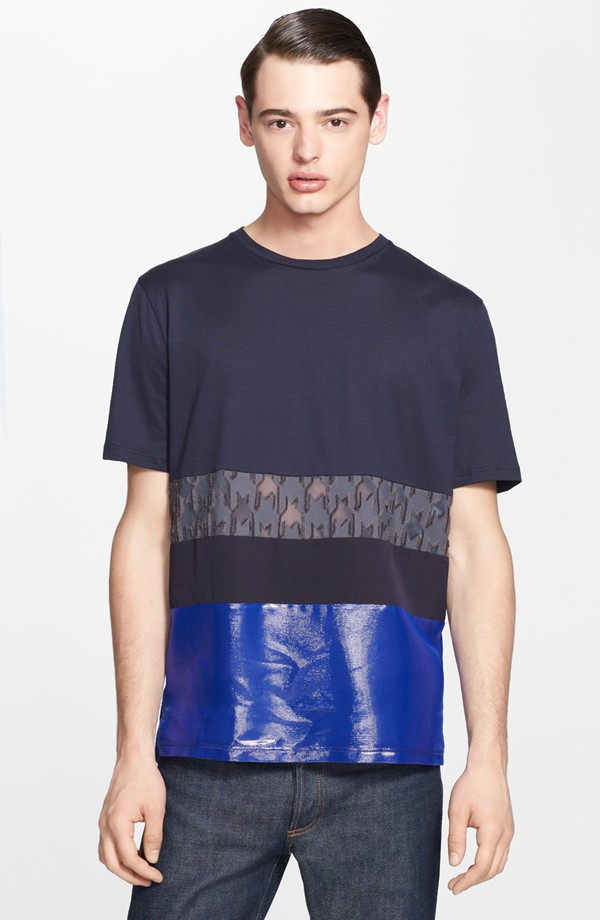 Jacob Morton wears Lanvin mixed panel t-shirt from Nordstrom