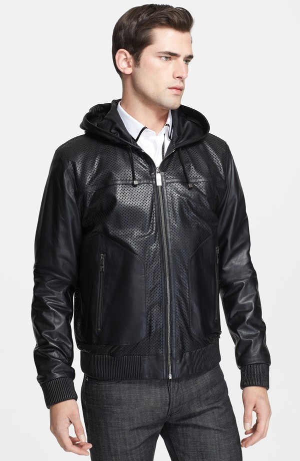 Sean O'Pry wears Versace leather hooded jacket from Nordstrom