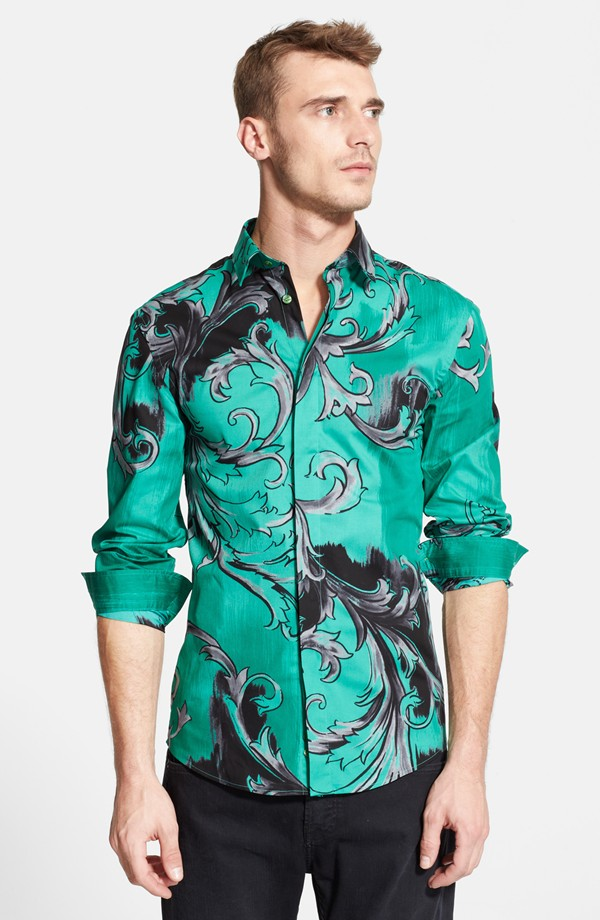Clement Chabernaud wears Versace Baroque shirt from Nordstrom
