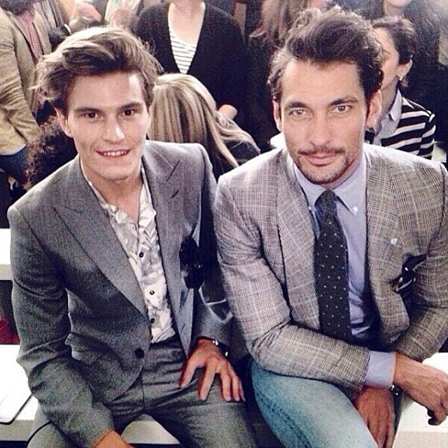 Oliver Cheshire and David Gandy pose for a photo front row at London Collections: Men.