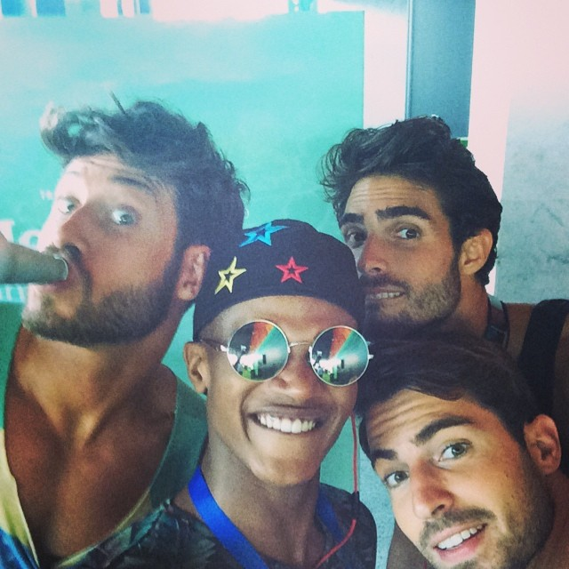 Jose Lamuno, O'Shea Robertson, Juan Betancourt and Antonio Navas pose for a selfie