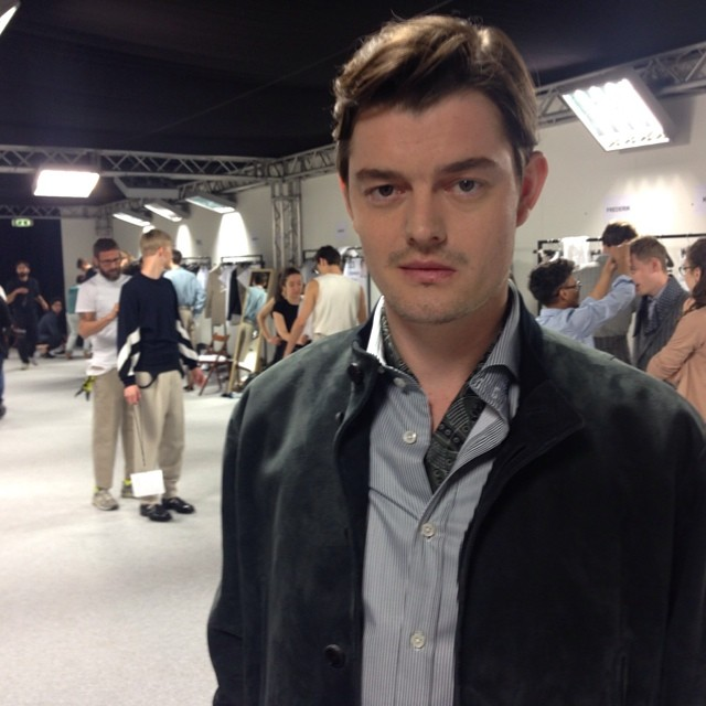 The face of Ermenegildo Zegna Couture's fall 2014 campaign, actor Sam Riley was a guest at the label's spring 2015 show.