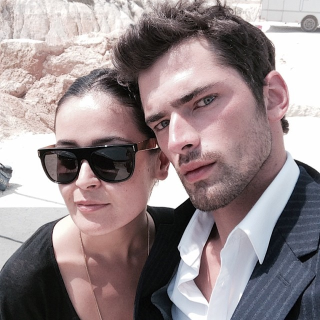 Sean O'Pry poses for a photo with stylist Gulsah Ozturk.