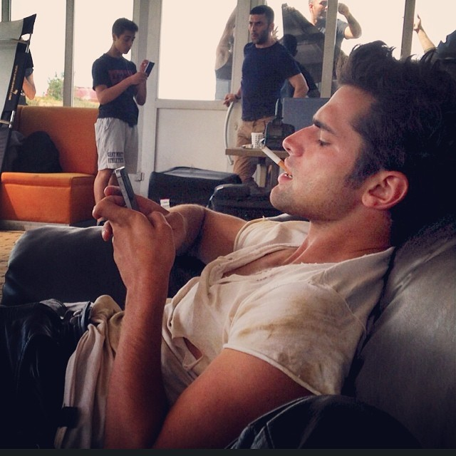 Sean O'Pry relaxes after finishing a job in Turkey.