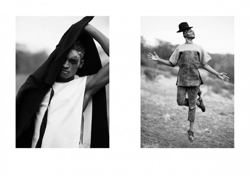 Left: Serghinio wears coat Xander Zhou, shirt Agi & Sam and trousers Craig Green. Right: Serghinio wears top and trousers Alan Taylor, shoes Soulland and hat stylist's own.
