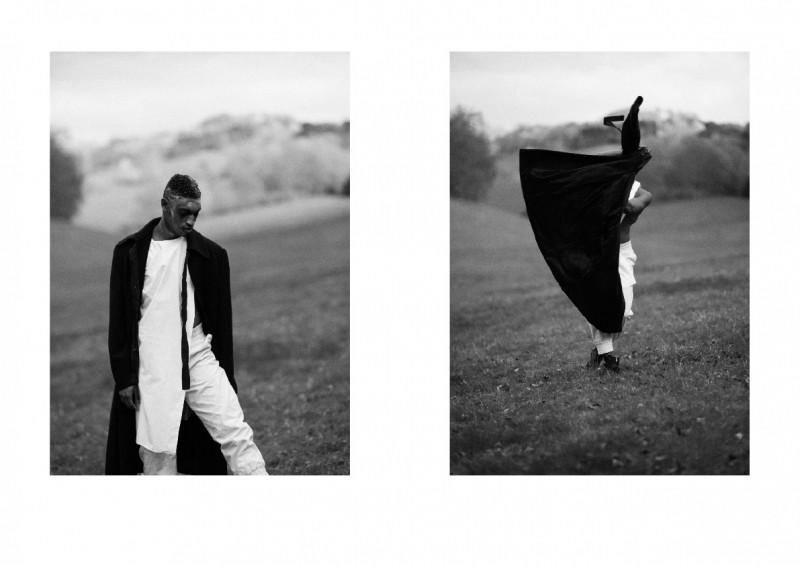 Serghinio wears coat Xander Zhou, trousers Craig Green, shirt Agi & Sam and boots stylist's own.