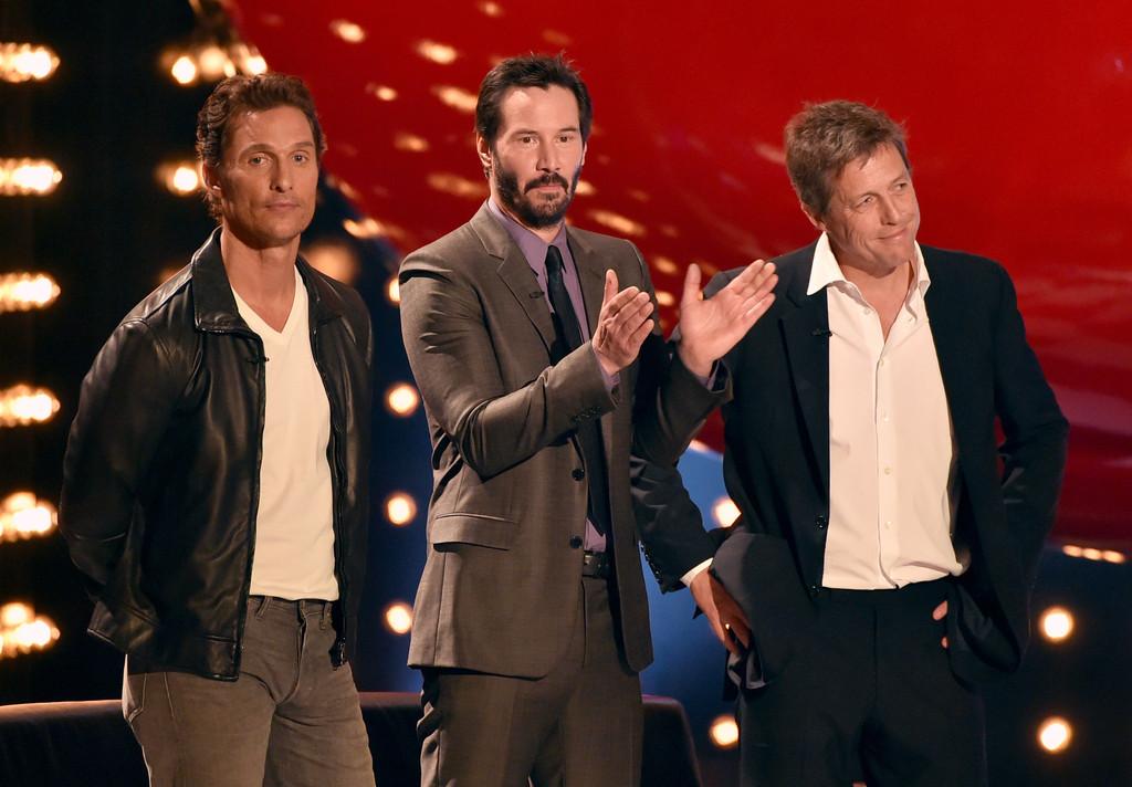 Actors Matthew McConaughey, Keanu Reeves and Hugh Grant
