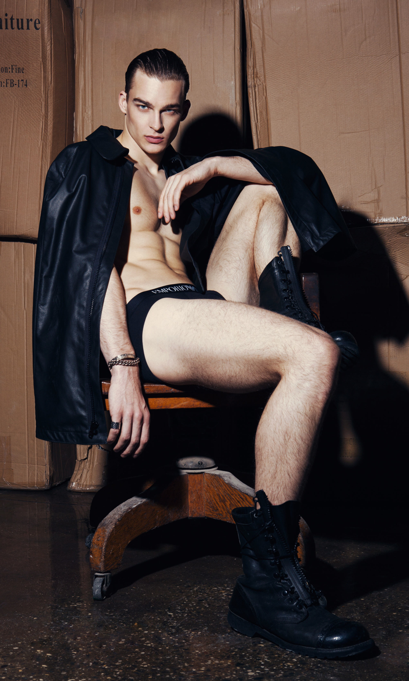 Thorben wears cape Martin Keehn, underwear Emporio Armani, bracelet Bobby Day and boots Army Surplus.