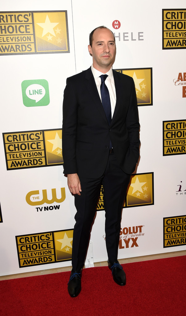 'Veep' actor Tony Hale wore a look from Tommy Hilfiger Tailored to the Critic's Choice Television Awards.