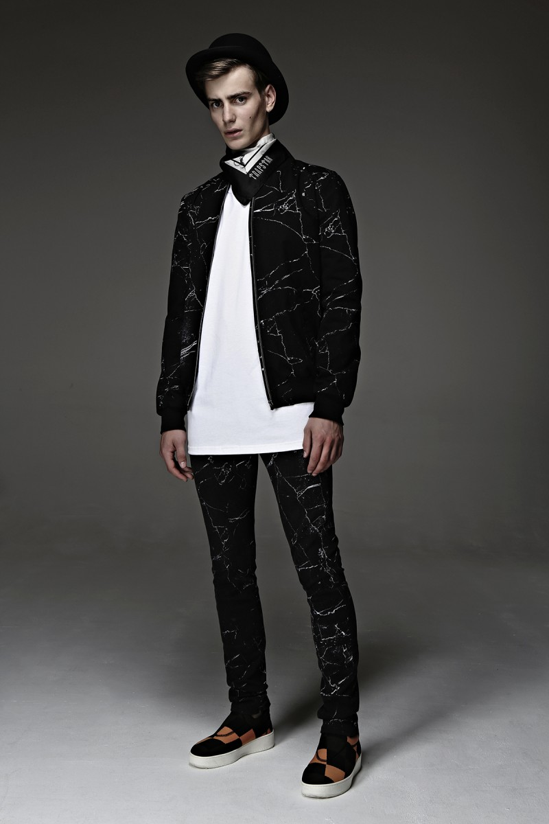 Trapstar Red Line at Harvey Nichols - Marble print jacket - £435 & Marble print jeans £290 with Silk Skull print scarf - £175