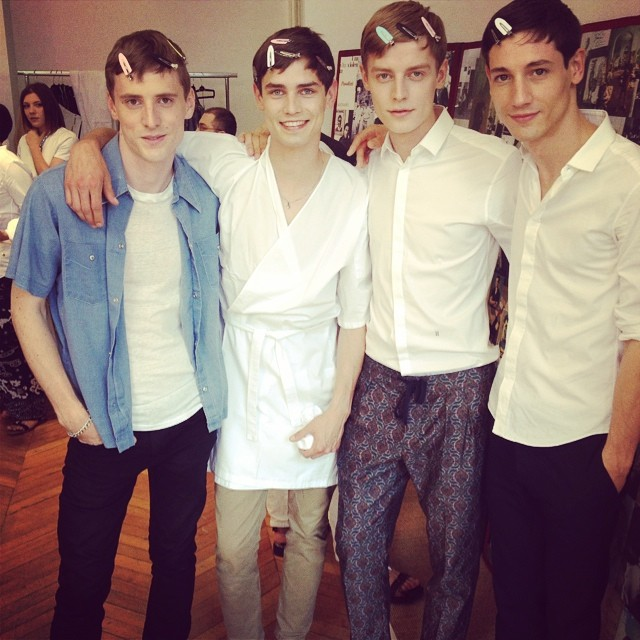 Valentino rounds up its campaign models backstage for a great photo. George Barnett, Arthur Gosse, Janis Ancens and Nicolas Ripoll.