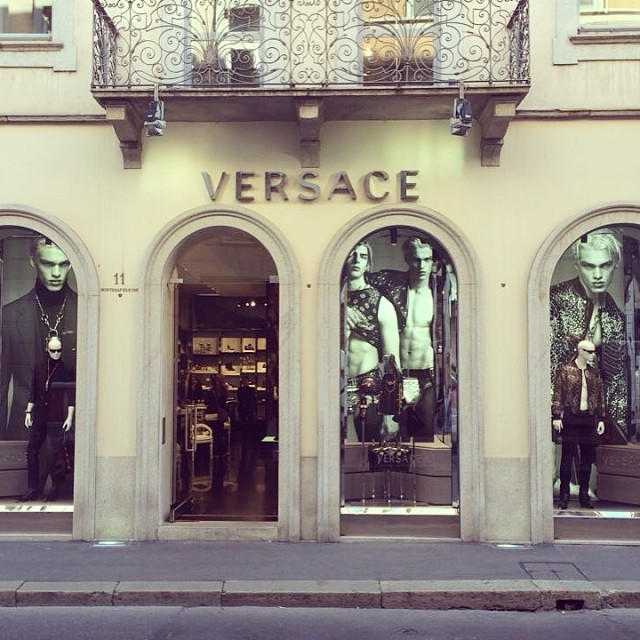 Filip Hrivnak shares an image of Versace's Milano store that showcases its fall/winter 2014 campaign, which he is a star of.
