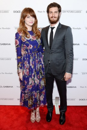 Andrew Garfield poses with girlfriend Emma Stone
