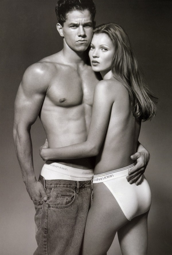 Mark Wahlberg poses with model Kate Moss for 1992 Calvin Klein ad shot by Herb Ritts