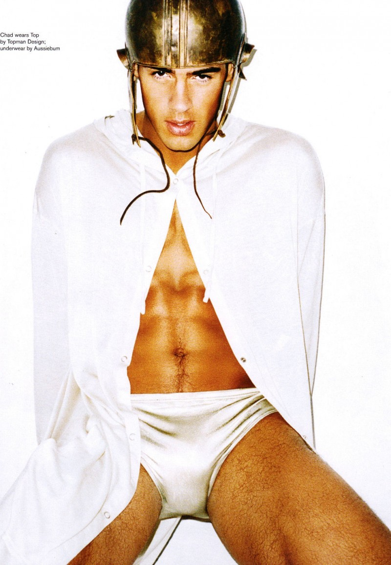 Chad White is a gladiator in white by Matt Irwin for Attitude Magazine (February 2008).