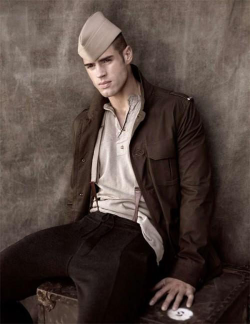 Chad White looks the part for a military-inspired shoot by Richard Phibbs for the December 2009 issue of Sport & Style.