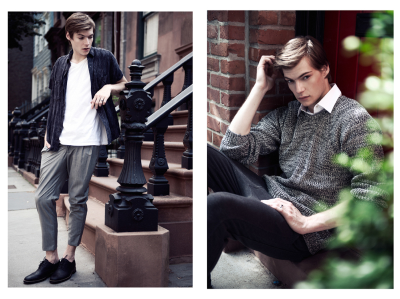 Left: Douglas wears t-shirt H&M, shirt american Apparel and trousers Tomohiro Kobayashi. Right: Douglas wears shirt H&M, sweater ASOS, joggers Zara and shoes stylist's own.