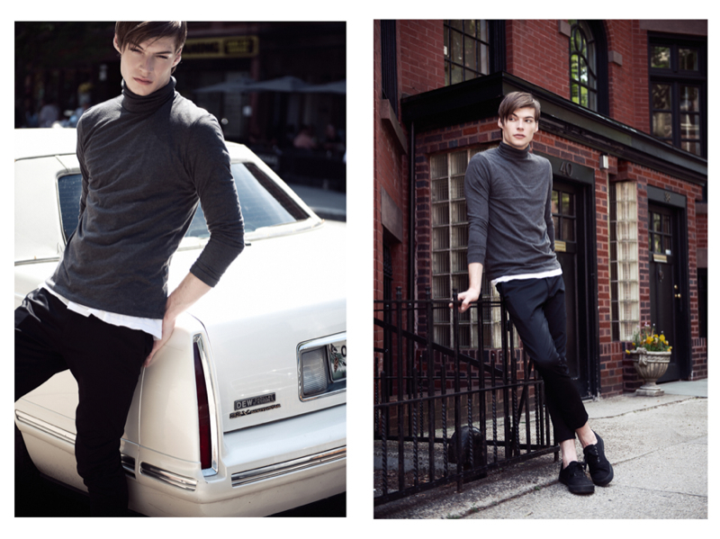 Douglas wears turtleneck ASOS, t-shirt H&M, trousers Zara and shoes Levi's.