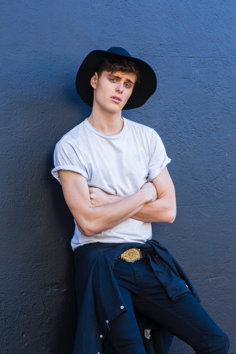 Ethan wears hat Witchery, t-shirt Neuw, vintage belt stylist's own and jeans Dr Denim.
