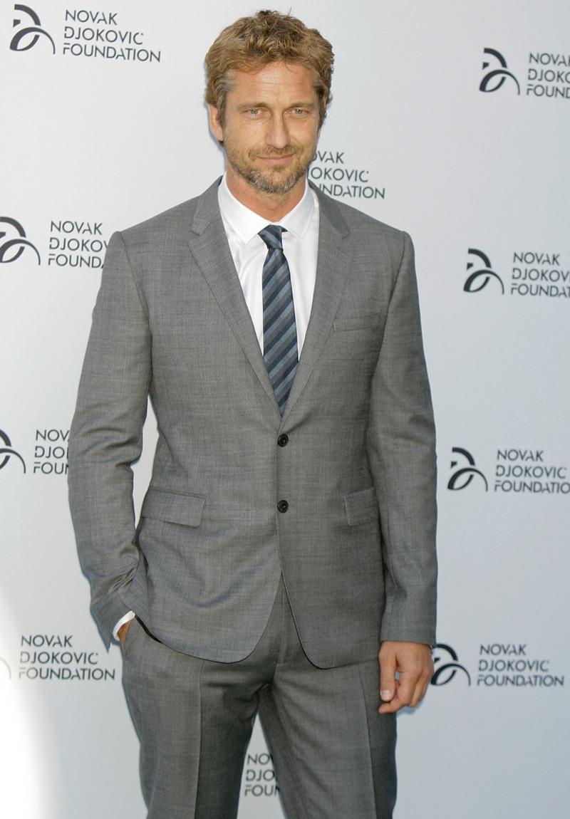 Gerard Butler Blond Hair Grey Suit
