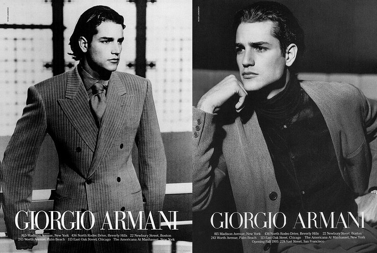 Andrea Boccaletti by Peter Lindbergh for Giorgio Armani Fall/Winter 1995 Campaign.