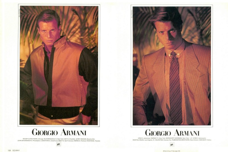 Model Rick Edwards by Barry McKinley for Giorgio Armani spring/summer 1982 advertising campaign.