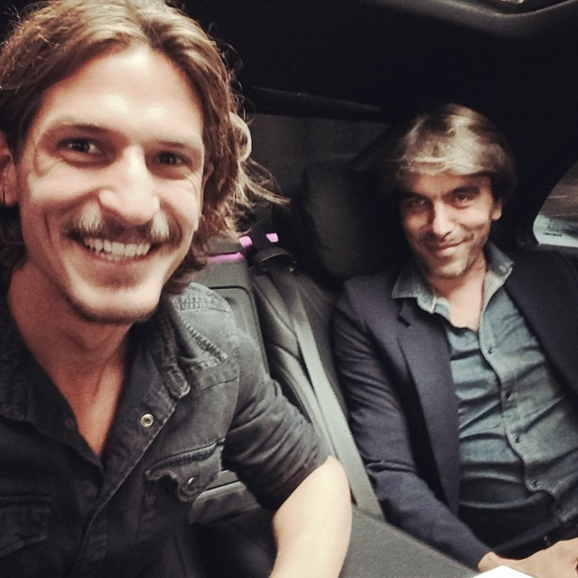 Jarrod Scott shares a ride with Vogue Hommes International editor-in-chief Olivier Lalanne.