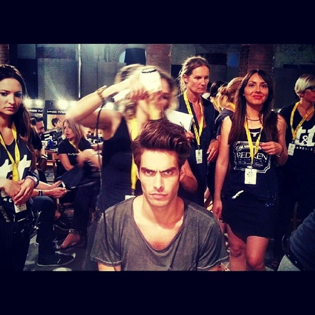 Jon Kortajarena delivers a death stare backstage at a show.