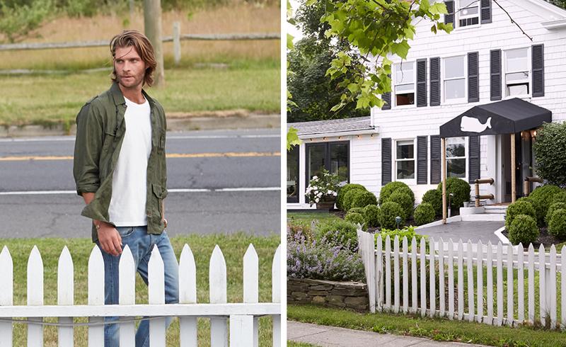 Pilcher wears jacket Oliver Spencer, t-shirt Levi's Vintage Clothing and jeans J.Crew.