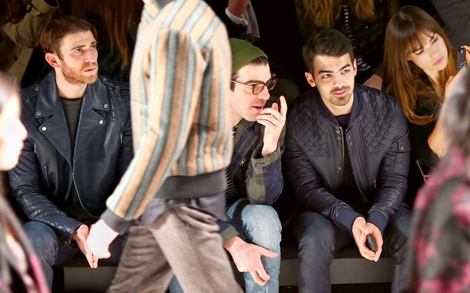 Bryan Greenberg, Zachary Quinto and Joe Jonas sit front row at Richard Chai's fall 2014 show.