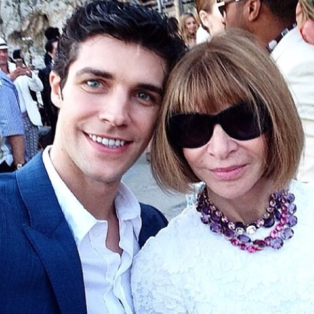 Roberto Bolle poses for an image with Vogue editor-in-chief Anna Wintour.