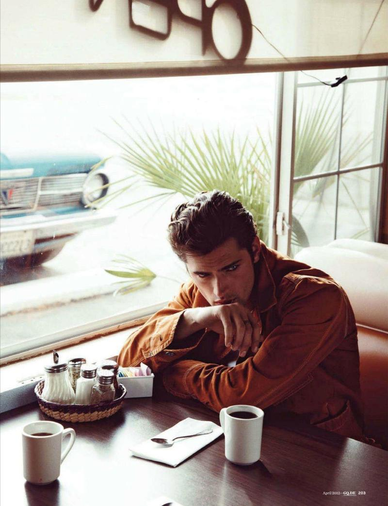 Sean O'Pry enjoys a relaxed moment in the April 2012 issue of GQ Germany. Photo by Dan Martensen.