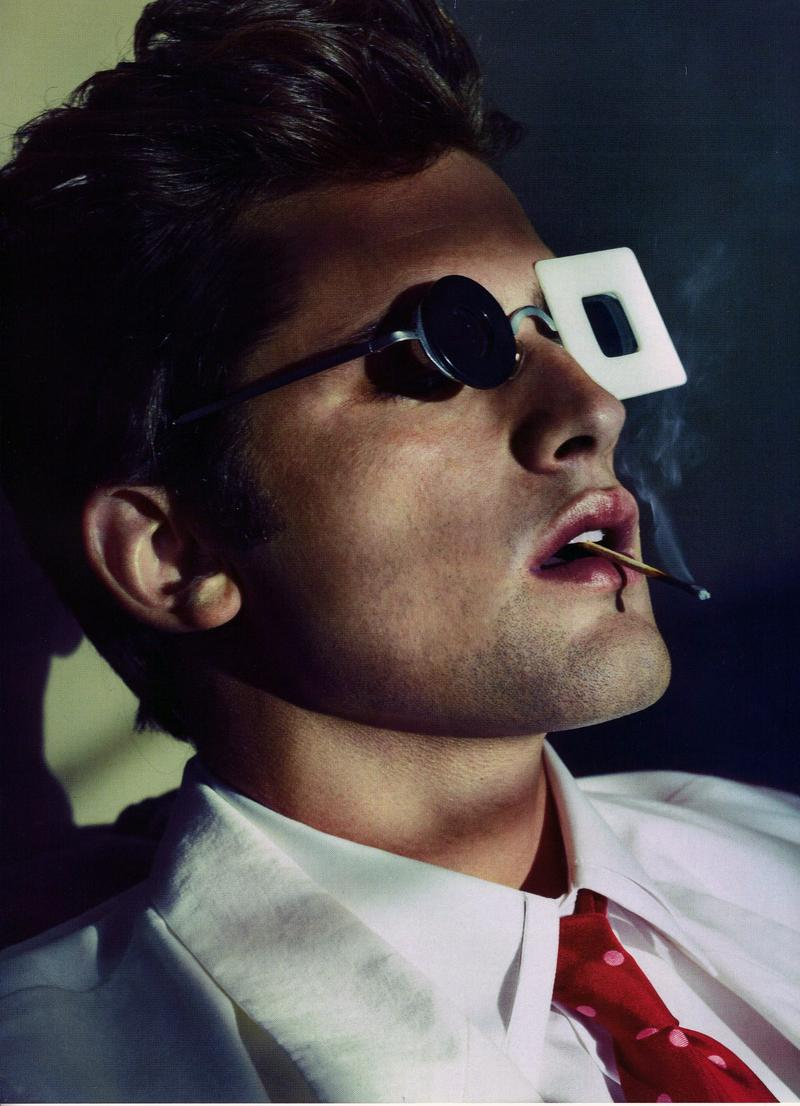 Sean O'Pry pulls off quirky well in this shot by Alexei Hay for GQ Germany's spring/summer 2012 issue.