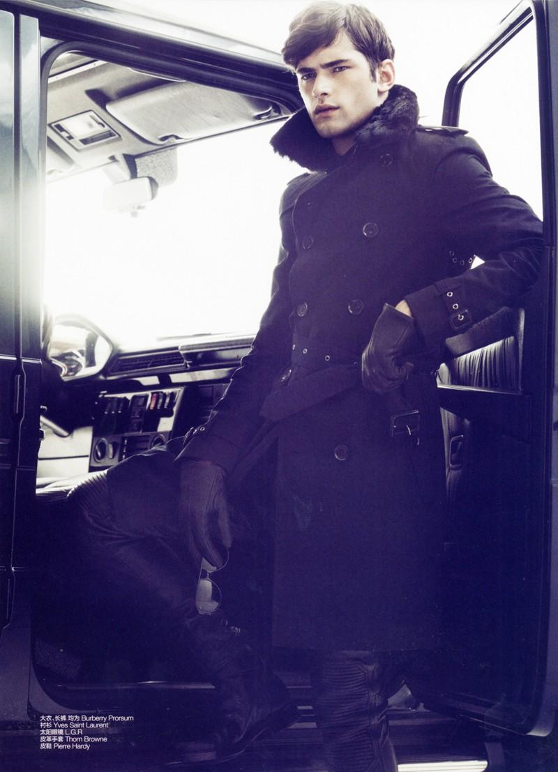 Sean O'Pry puts on a cold front for GQ China's January 2012 issue. Photo by Greg Harris.