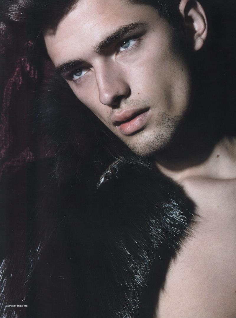 Sean O'Pry dons fur for L'Officiel Hommes fall/winter 2008. Photo by Milan Vukmirovic.