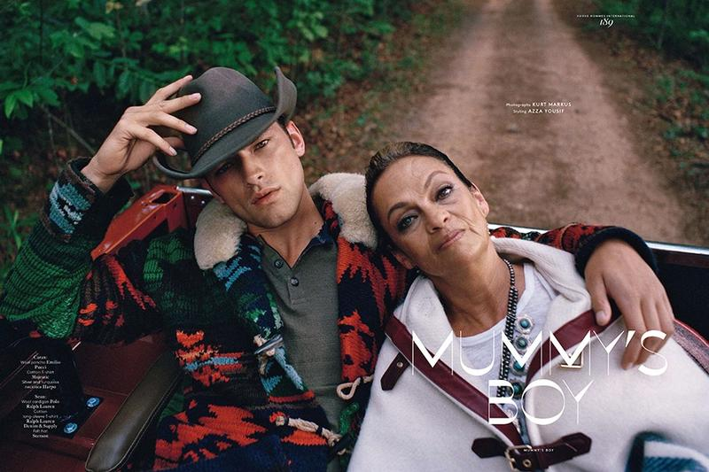 Sean O'Pry poses with his mother in a photo for Vogue Hommes International Fall/Winter 2012. Photo by Kurt Markus.
