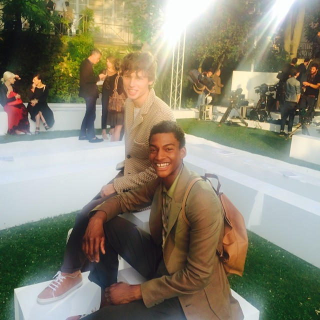 Ty Ogunkoya and Chris Poulter pose for a great fashion week photo.
