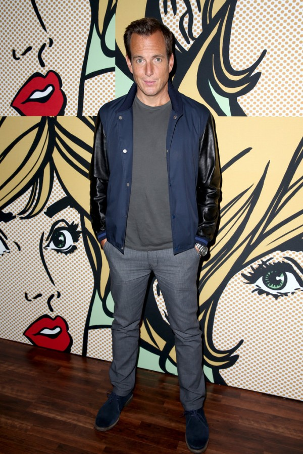 Will Arnett makes a casual style statement with a navy and black Todd Snyder varsity jacket.