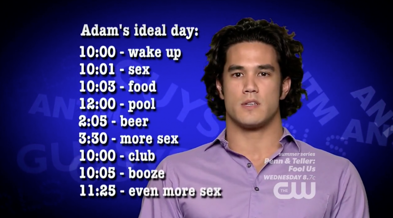 Adam is completely ridiculous, but makes for great TV. We'll play for now.