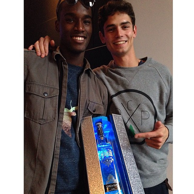 A happy Arthur Gosse poses for an image with friend Corey Baptiste