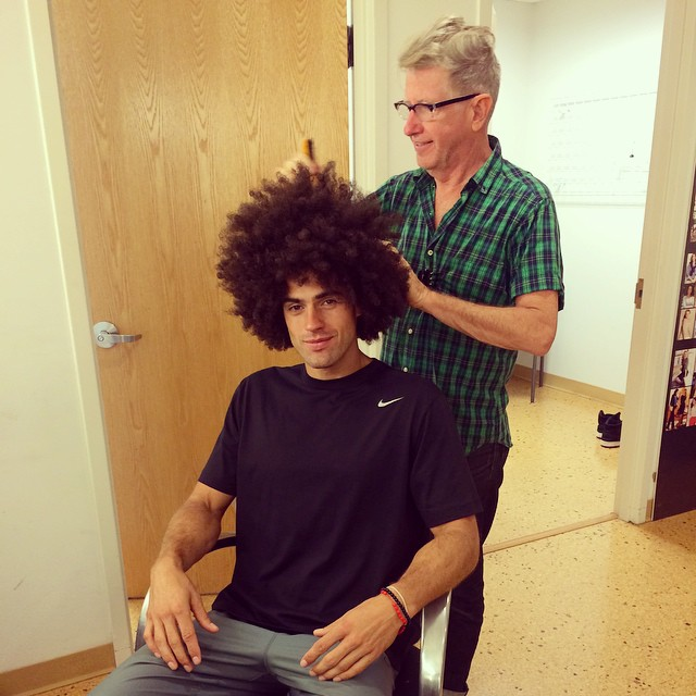 Chad White gets an afro for a shoot.